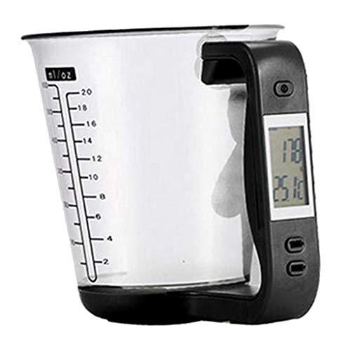 SDENSHI Digitale Messbecherwaage, Haushalt Küchenwaage mit Abnehmbarem Messbecher zum Wiegen und Messen | Tragkraft 1kg, mit automatischer Abschaltfunktion - Schwarz