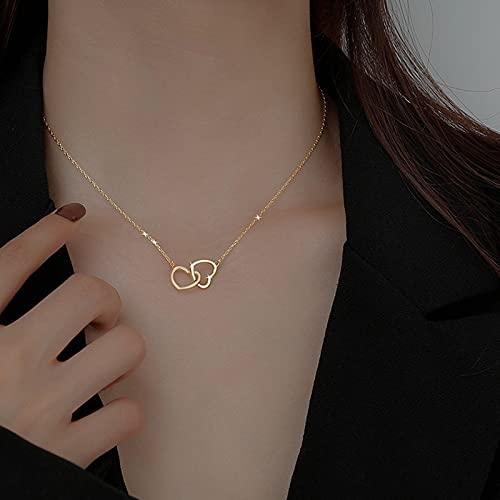 JIUXIAO Colgante de Collar de corazón de Oro de 18 Quilates de Lujo para Mujer Colgantes de joyería Fina de Navidad Encanto de Zorro Lindo/romántico