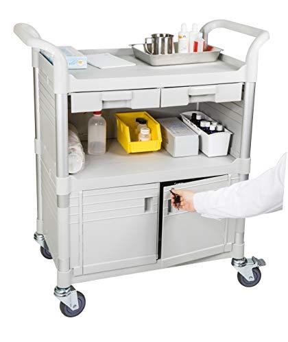 JABO Carrello ospedaliero chiudibile a chiave più grande Carrello medico a 3 livelli, carrello pratico da 275 kg per ospedale medico, JBG-3KD1, L90 x P50 x H103cm Bianco