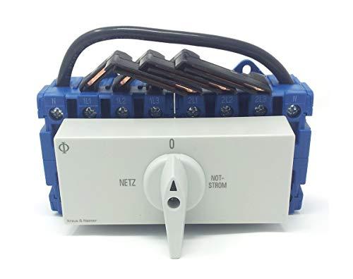 Kraus & Naimer KG41B K950 VE2 +F437 Umschalter mit Stellung Netz 0 Notstrom 4-polig 90° 45mm-Schnappbefestigung Lastschalter