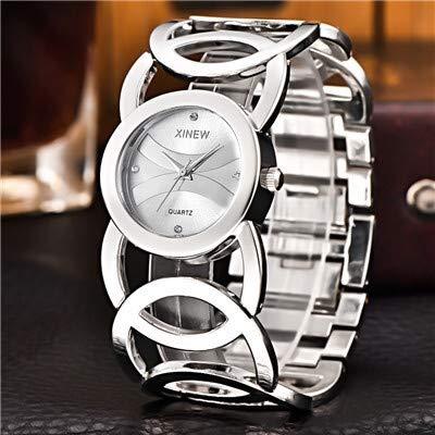ZWH Señora Relojes de Oro de la Mujer Completa de Acero Inoxidable Pulsera mágica Mujeres Reloj Pulsera de Reloj de Las señoras Hembra (Color : Silver)