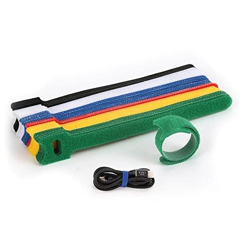 Bestmaple - 60 cintas reutilizables de gancho y lazo, cinta de sujeción de nailon de colores, correas de velcro para cables, organizador de cables
