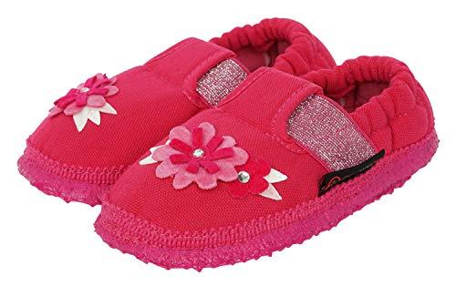 GIESSWEIN Hausschuh Arrach - atmungsaktive Slipper aus Baumwolle, niedliche Mädchen Pantofflen, Baumwoll Schuhe für Kinder, Natur Latex Sohle, Gummizug