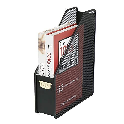 DESIGNA Metal Wire Desktop Mesh Magazine Holder, Office Desk Standing File Organizer Vertical, Black