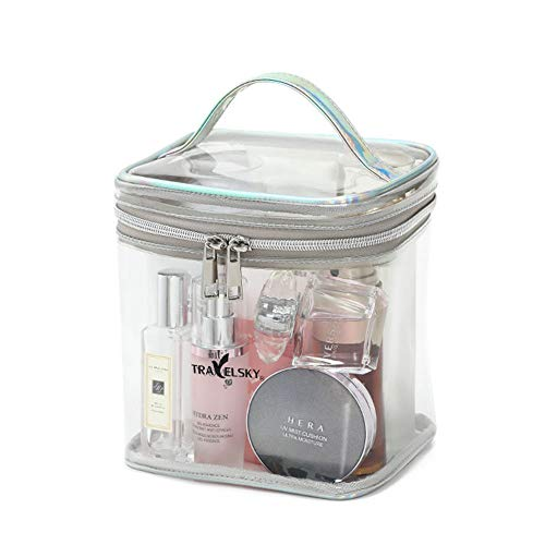 Transparante Travel Toilettas PVC Clear Cosmetic Pouch, Airline Kit Heldere Vloeistoffen Toiletten & Cosmetica Organizer, Quart Sized met Rits