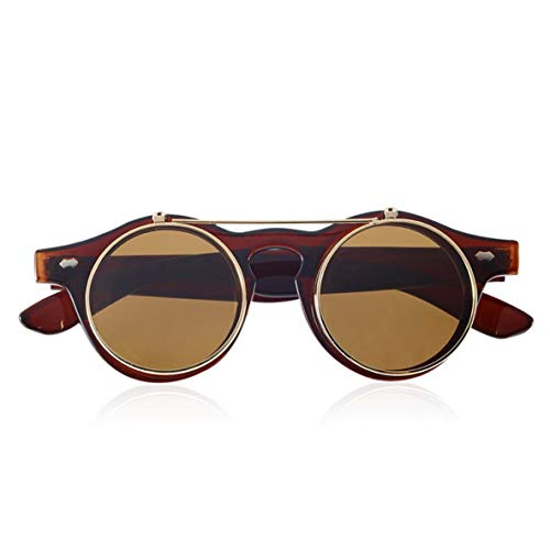 ACEHE Gafas de Sol, Gafas clásicas Steampunk Goth Gafas Gafas de Sol Redondas abatibles Retro Accesorios de Moda Vintage Tendencia de Moda Gafas Redondas (Tawny)