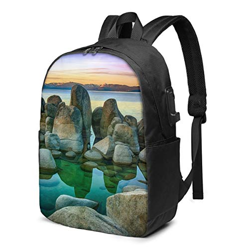 Aquarium Fish Tank Printed Travel Lightweight Backpack with USB Charging Port & Headphone Port