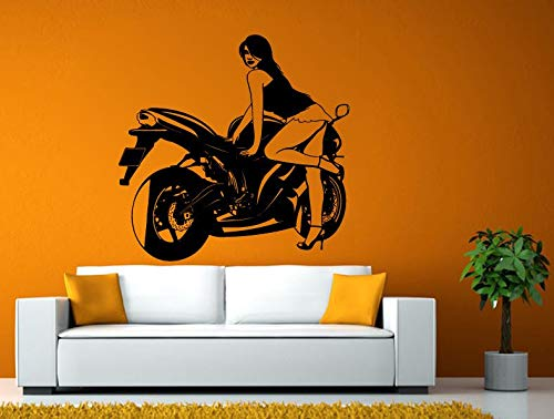 Wall Decals Cute-Girl Sport Bike Motorcycle Crotch Rocket Racing Wall or Window Sticker Decal Vinyl Fathead Mural Decor - Made in USA-Fast delivery