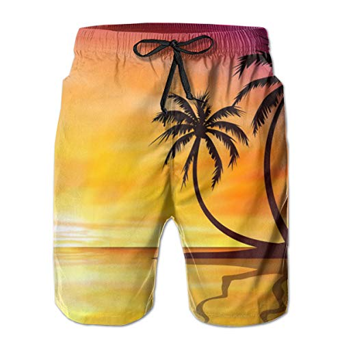 Sexy Swim Trunks with Drawstring, No Fading Wrinkle-Free Beach Trunks, Cool Tropical Sunset Beach Clipart Palm Tree Watershorts for Competition Volleyball Pool
