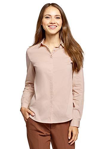 oodji Ultra Damen Tailliertes Hemd mit Perlen-Verzierung am Kragen, Beige, DE 42 / EU...