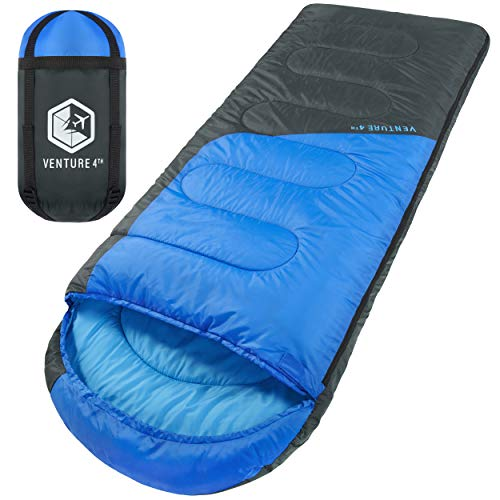 3-Season Sleeping Bag, Single, Regular Size - Lightweight, Comfortable, Water Resistant Backpacking Sleeping Bag for Adults & Kids - Ideal for Hiking, Camping & Outdoor Adventures – Blue/Gray