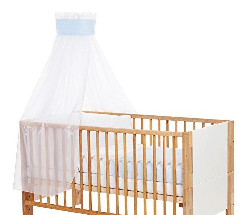babybay Ciel de lit pour enfant avec ruban Motif étoile Bleu clair