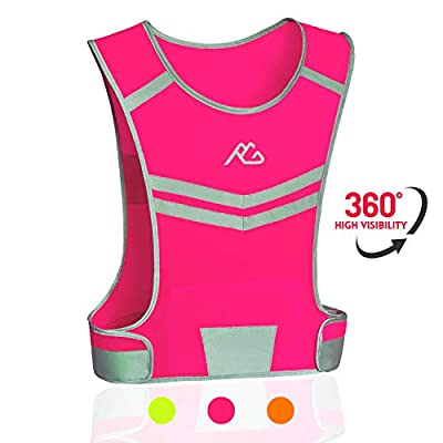 Reflective Running Vest Gear Ultralight & Comfortable Cycling Motorcycle Reflective Vest-Large Zippered Inside Pocket & Adjustable Waist- High Visibility Night Running Safety Vest (Pink, L/XL)