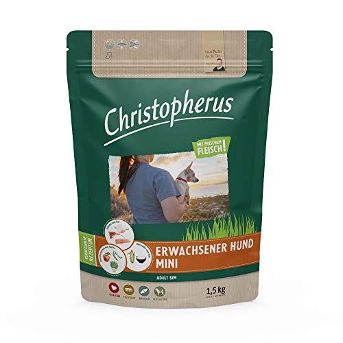 Christopherus Adult mini, Vollnahrung für ausgewachsene Hunde mit normaler bis gesteigerter Aktivität, Trockenfutter, Geflügel, Lamm, Ei, Reis, Reduzierte Krokettengröße, Erwachsener Hund, 1,5 kg