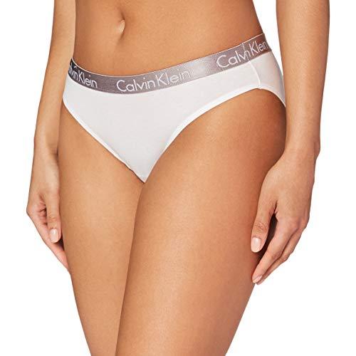 Calvin Klein Radiant Cotton-Bikini Braguita, Blanco (White 100), S para Mujer
