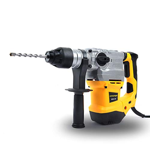 Monkey King Bar -SDS Plus 12Amp 1500w 120v 60Hz Corded Sds Rotary Hammer Drills- Hammer Drills for Concrete -Safety Clutch 3 Functions Includes Sds Plus Bits 11 Pcs Accessories Set