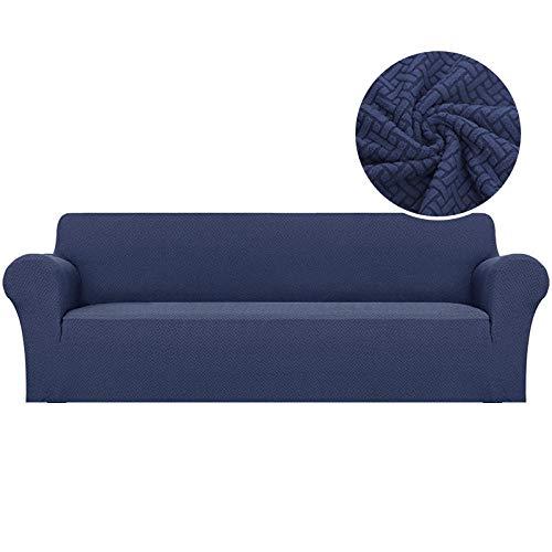 Funda de sofá elástica Jacquard, segmentada, Antideslizante, Resistente al Desgaste, fácil de Limpiar, Utilizada para la protección de Muebles-Azul Marino_2 plazas 145-190cm