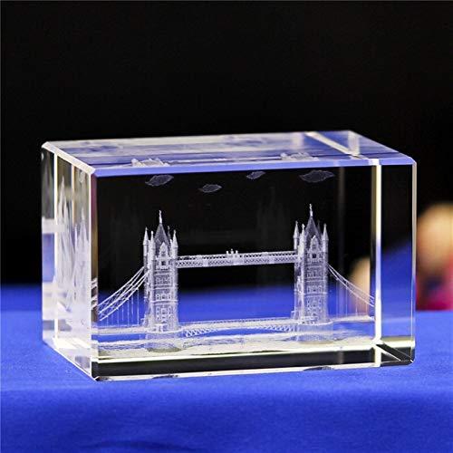DFGDFG 3D Crystal Cube Grabado Building Modelo Figurines Miniatures Souvenirs Decoración del hogar Regalos de Lujo (Color : Miniatures 10, Size : 50x50x80mm)