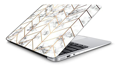 """DwellAmor White Marble D1 Design Vinyl Laptop Skin/Sticker/Cover/Decal for all 15-15.6"""" laptop models Laminated HD Quality Self Adhesive Compatible with 15-15.6 Inches Laptop,Multicolour [DwellAmor45]"""