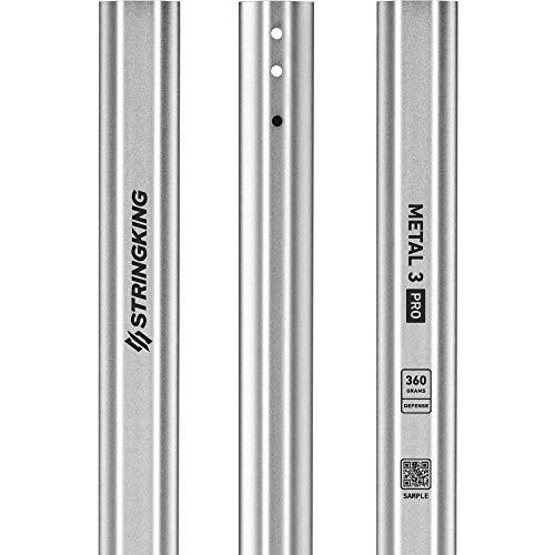 StringKing Men's Metal 3 Pro Defense Lacrosse Shaft 360 Grams (Silver)