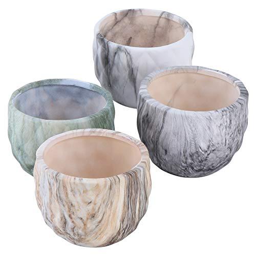 TsunNee 4 macetas de cerámica de 3.3 pulgadas, patrón de mármol, macetas de cerámica de estilo moderno, bonsái decorativas para decoración del hogar, jardín, oficina, escritorio, regalo