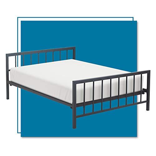 ClickDecor Evans Platform Bed Frame with Matte Black Metal Headboard, Low Profile, Modern Design, Wood Slats Support, No Spring Box Needed, Queen