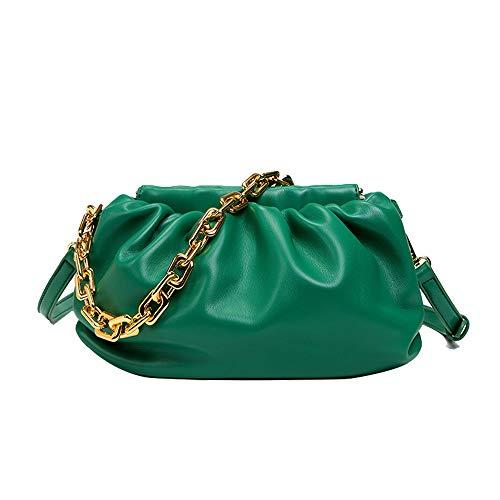 Women's Chain Pouch Bag Cloud-Shaped Dumpling Clutch Purse Fashion Trendy Shoulder Crossbody Handbag Ruched Chain Link Bag (Green)