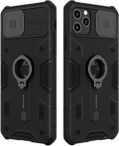 Funda para iPhone 11 Pro MAX Carcasa con Tapa Deslizable para Cámara Protección, E-Lush Cubierta Armor PC y Silicona TPU Caso con 360 Anillo Soporte Estuche Antigolpes Anti-arañazos Case Cover, Negro