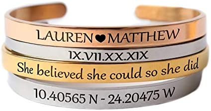 Personalized Bracelets for Women Inspirational Mantra Engraved Cuff Bangles Gifts for Women product image
