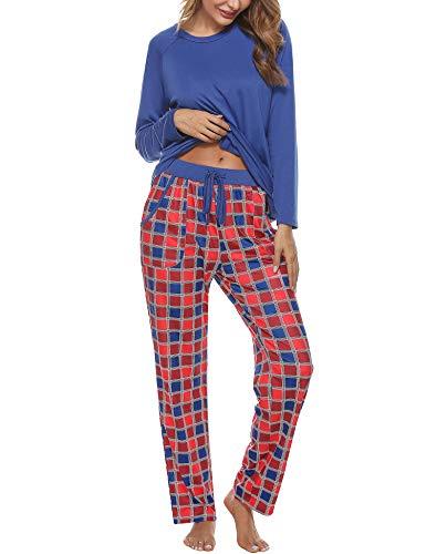 Aibrou Conjuntos de Pijama, Mujer Pijama Conjunto Camiseta y Pantalones Plaid Pijama Largo Mujer Elegante Manga Pantalon Largos Suave Pijama Mujer 2 Piezas Invierno Estilo 1:Azul XL