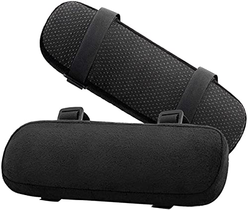 Chair Armrest Pads Memory Foam Comfortable Elbow Pillows for Office Chair Arm Support Forearm Pressure Relief Soft Cushion Anti-Slip Bottom Black 2 Pack¡