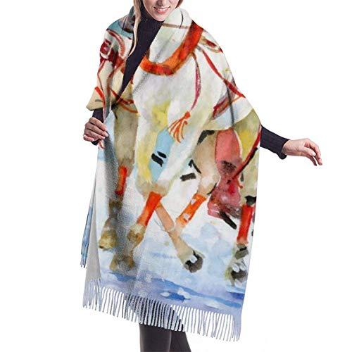 Acuarela Caballo Carruaje Al aire libre Pintura popular Imitar Bufanda Pashmina Mantón Envolturas Suave Manta Bufandas Envoltura elegante para mujeres