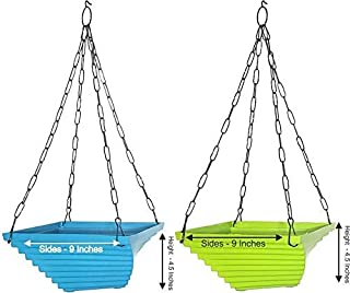 MB TRADERS Hanging Garden pots, Twister Flower pots with Heavy Metal Chain, Set of 2 Blue and Green Color Planter Baskets,...