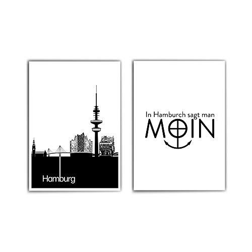 2er Hamburg Poster Set - Hamburg Skyline & In Hamburch sagt man Moin - Nordliebe - Typografie Spruch Bild - ohne Bilderrahmen
