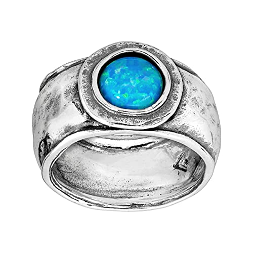 Silpada 'Whirlpool' 5/8 ct Created Blue Opal Ring in Sterling Silver, Size 6
