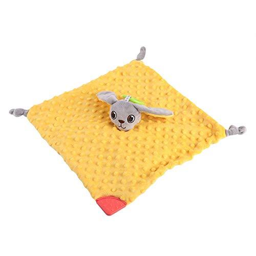 Baby verzbelangrijke handdoek zachte vierkante pluche knuffels bijtring deken dier pop kalmerende trooster veiligheidsdoeken kinderziekten doek babypverzorgingsproduct met rammelbell geel