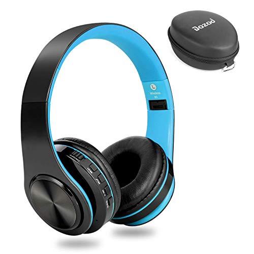 Dozod Bluetooth Over Ear Headphones, Wireless Foldable Hi-Fi Deep Bass Headset with Mic, Wired/SD Card Headphone with Volume Control for iPhone/iPad/Samsung/PC (Black/Blue) (Renewed)