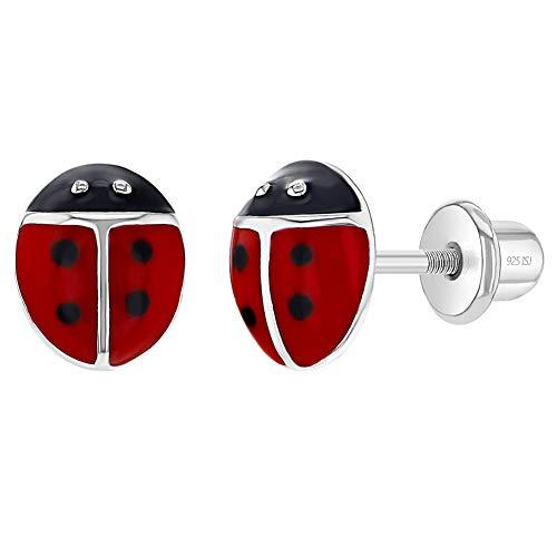 Ohrringe mit Marienkäfer-Schraubverschluss, 925er Sterlingsilber, Emaille, für Kleinkinder und junge Mädchen