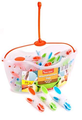 Wäscheklammerkörbchen mit 20 SoftGrip Wäscheklammern - Korb mit Aufhängung -