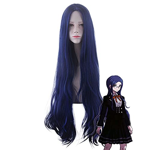 Dark Blue Women Anime Wig Danganronpa, Shigaraki Tomura Cosplay Dress Up Pelo sintético Masquerade Crazy Party Fancy Game Pelucas largas con Peluca Gratis
