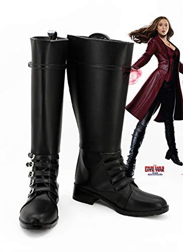 Película caliente Capitán América: Guerra Civil Bruja Escarlata Cosplay Botas Zapatos Carnaval de Halloween Cosplay Botas 37