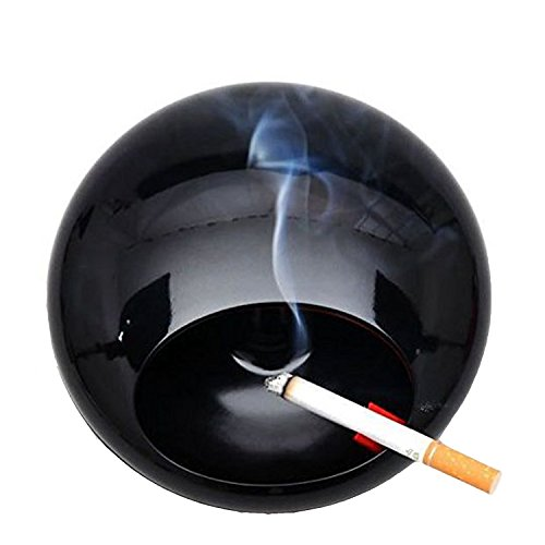 Ashtrays, Signstek Rotating Ashtray with Lid Windproof Smokeless Ash Tray for Cigarettes,Smoke Soot Collector Black