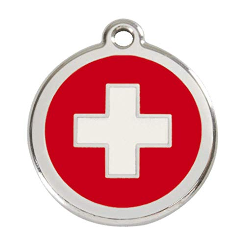 K9 Palace Red Dingo Stainless Steel with Enamel Pet I.D. Tag - Swiss Cross (Large)