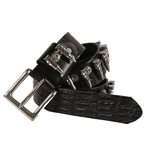 MICEROSHE Cómodo Cinturón Punk Cinturón Unisex Punk Cinturón y Rock Metal Bullet Inlay Accesorios Cinturón Pin Hebilla Hombres (Color : Black, Size : 115cm)