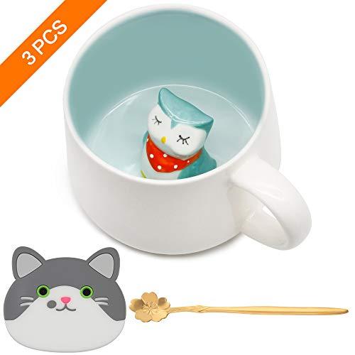 Keramik Kaffeetasse Lustige Teetassen Handgemachte Nette Eule Tasse 3D Für Freunde Mitbewohner Familie oder Kinder 3D Niedliche Tierkaffeetasse Als Überraschungsgeschenk Geburtstagsgeschenk 13.5 Oz