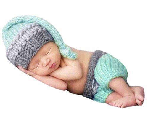 Happy Cherry Neugeborenes Baby Foto Kostüm Fotografie Prop Handarbeit Bekleidungsset Fotoshooting Stricken Kostüm für Baby Junge Trikot Foto Outfits Fotografie Requisiten Für 0-1 Monate - Himmelblau