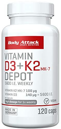 Body Attack Vitamin D3 + K2 Depot, nur 1 Kapsel pro Woche, hochdosiert, Vitamin D3 5600 i.E. 140 µg, Vitamin K2 MK-7 100 µg, für Muskeln und Knochen, vegan, 120 Kapseln für 120 Wochen