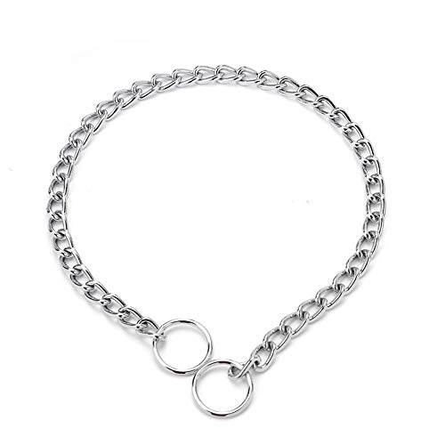 ZXPAG Würgehalsbänder für Hunde Hund Choker Halsband Hundehalsband Kette für Hunde Kreative Hund Halsband Kette Achter-Knoten Kette Kragen Hund Gehorsam Ausbildung Befehl,Silber,2.0mm*40cm