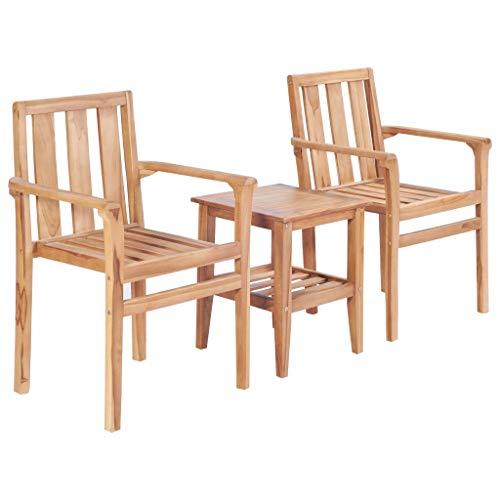 MK Palace | Set de bistro 3 pièces en bois | Fauteuils en teck massif et mini table basse