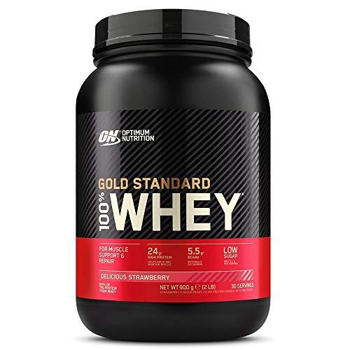 Optimum Nutrition Gold Standard 100% Whey Protéine en Poudre avec Whey Isolate, Proteines Musculation Prise de Masse, Fraise, 30 Portions, 0.9kg, l'Emballage Peut Varier